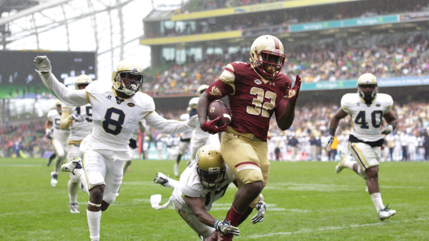 DUBLIN, IRELAND - SEPTEMBER 03:  Jon Hillman of Boston College races clear to score a touchdown despite the tackle of Lance Austin and Step Durham of Georgia Tech during the Aer Lingus College Football Classic Ireland 2016 at Aviva Stadium on September 3, 2016 in Dublin, Ireland.  (Photo by Patrick Bolger/Getty Images)